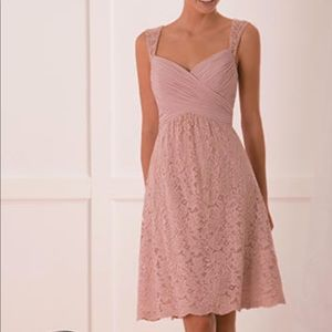 Misty Pink Sweetheart lace knee length